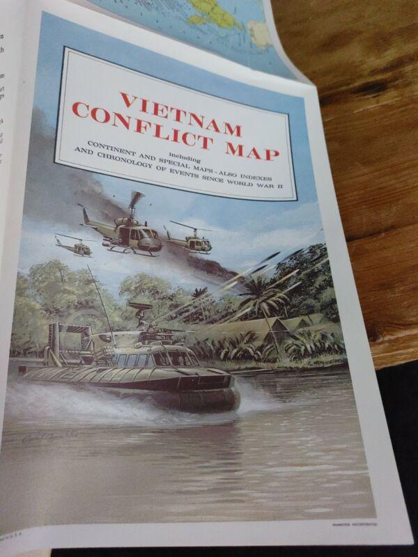 Vietnam War Conflict Map-  Vintage 1960s