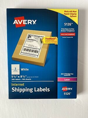 Avery 5126 White Internet Shipping Labels 200 Labels Ave5126