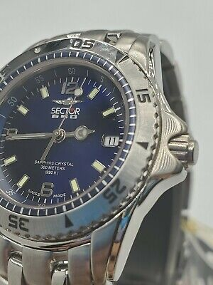Ladies Watch Sector 650 Blue Dial Date Sapphire Crystal Ss Bracelet 300m...