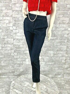 New St. John Runway Auth Stretch Blue Cotton Jeans Pants Slacks 4 US 40 IT S USA