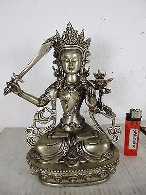 alter Tibet Buddha MANJUSHRI - TARA filigranes Tibet-Silber original ~1970 21cm