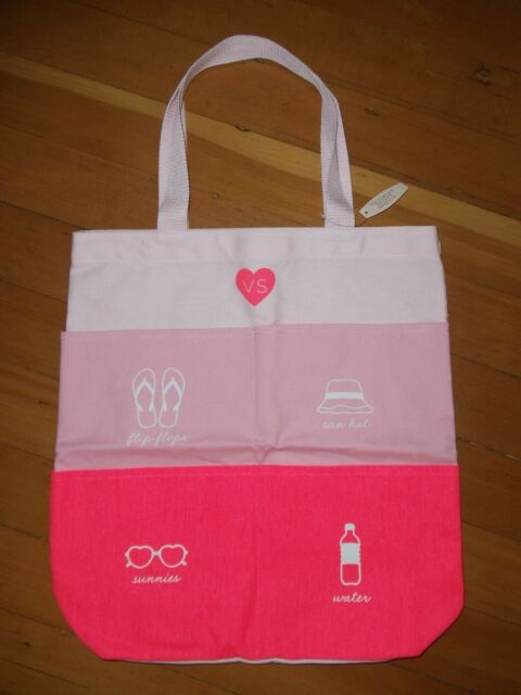 Victoria's Secret Pink Large Beach Tote Bag With Pockets 1138b | eBay