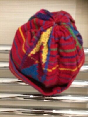 Vintage Guatemalan NEWBORN BABY Hat Cap Mid 20th C Handwoven Embroidered Fabric