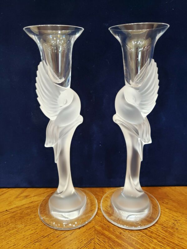 FABERGE KISSING DOVES CANDLE HOLDER SET OF TWO CANDLEHOLDER