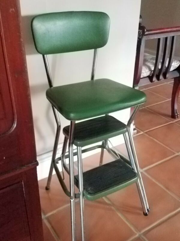 GREEN & Chrome COSCO Vintage KITCHEN CHAIR STEP STOOL Retro Mid Century Modern