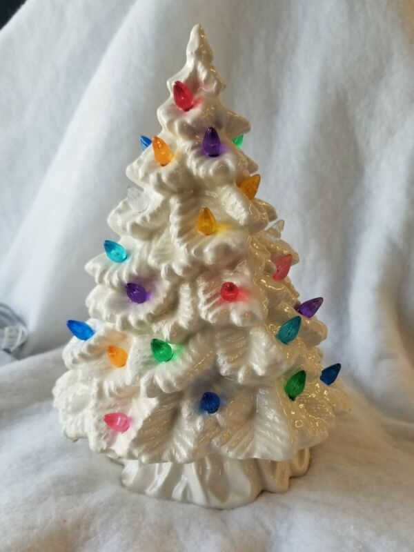 Ceramic Christmas Tree Made from a Vintage Mold  Beautiful white tree white base