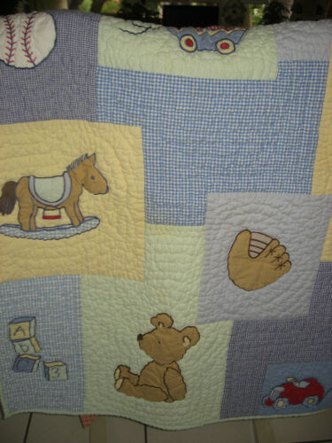 Baby Sprocket Quilt Wall Hanging Nursery Baby Boy Theme Blue Yellow