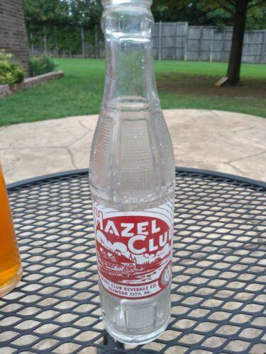 1950s era 7 1/2oz HAZEL CLUB ACL Soda Bottle - ELLWOOD CITY PA