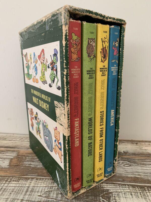 1965 VTG The Wonderful World of Walt Disney 4 Book Set Boxed Golden Press  Lot