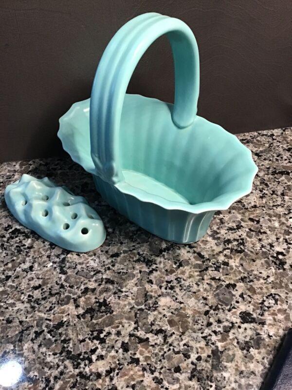 Vintage Turquoise Pottery Flower Frog Basket