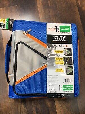 Five Star Multi Pocket 1-12 Zipper Binder 300 Sheet Capacity Blue