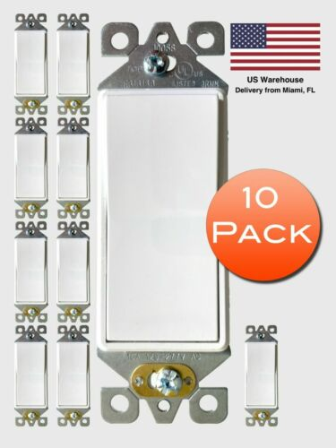 [10 Pack] 3-Way Decorate Wall Light Switch White, UL Listed (15A 125V/277V)
