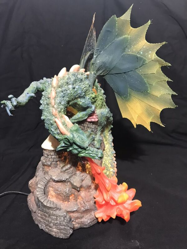 Dragon Statue - Fiber Optic, Wings in Motion, Color Changing Lighted Figure