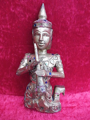 Beautiful, Antique Wooden Figure ___ Asian Monk with Flute __