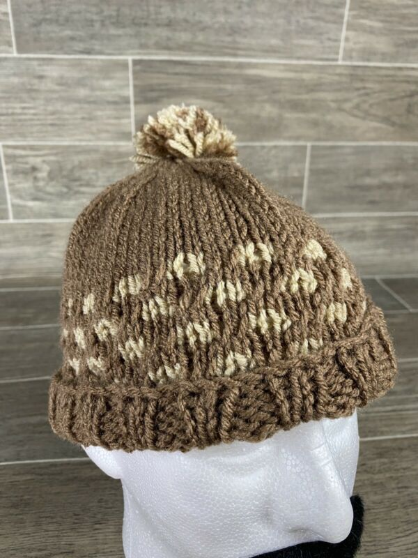 Brown & Tan - Homemade Winter Beanie Stocking Hat with Pom