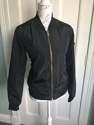 Ci Sono Original Black Bomber Jacket With Orange Lining Size M