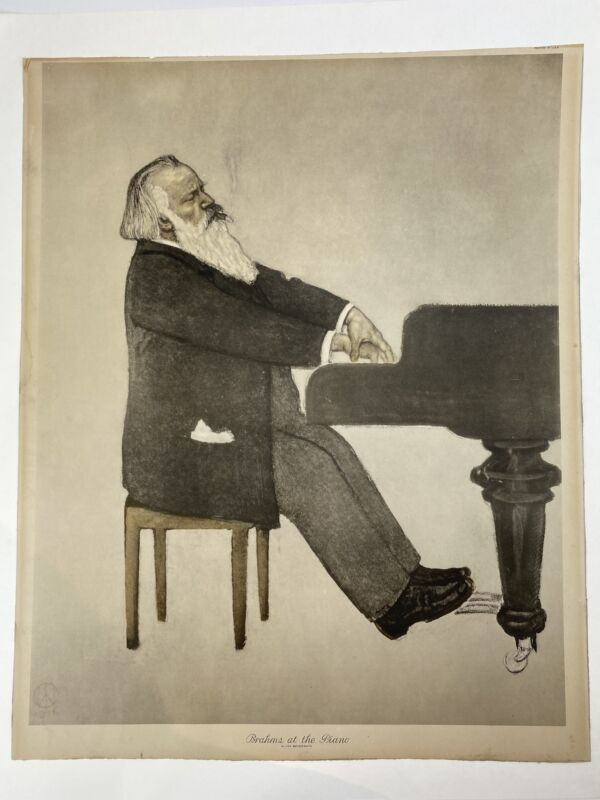 "Johannes BRAHMS: ""Brahms at the Piano"" Print after Willy von BECKERATH"