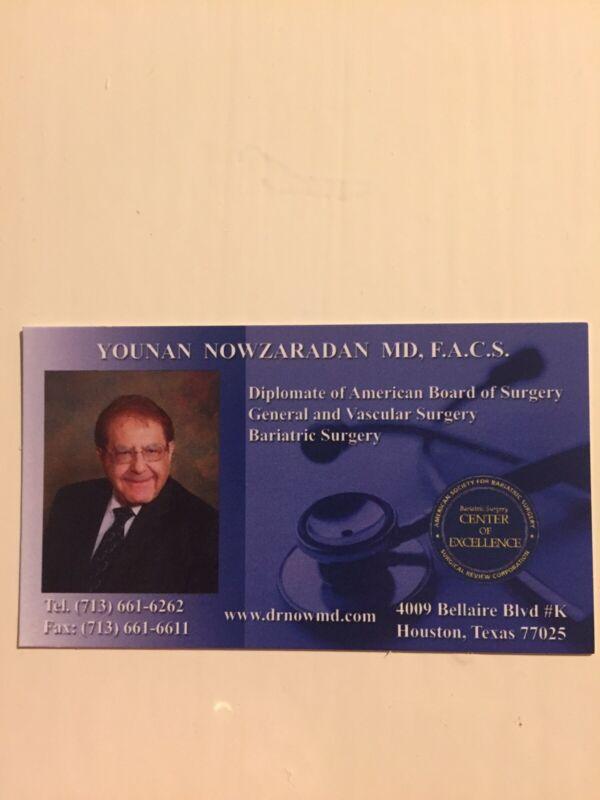 Business Card DR Now Nowzaradan My 600 Lb Life Bariatric Surgeon TLC Memorabilia
