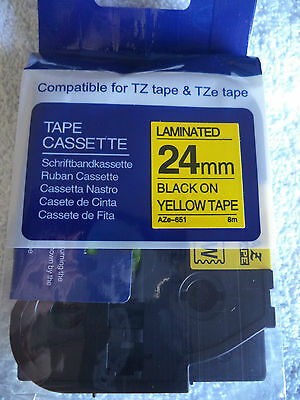 1 Tz 651 Black Yellow Label Tape Compatible Tze 26 Ft 24mm 1 Brother