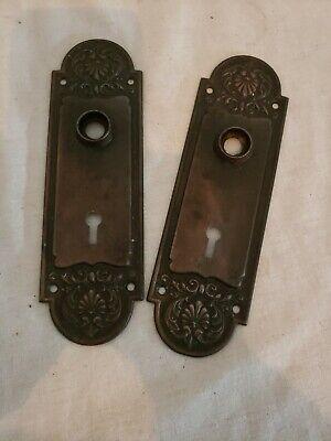 Victorian Copper Finger Plate Push Door Handle Art Nouveau Old Antique Hammered