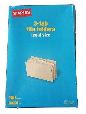 Qty 1 Box Of 100 Staples Legal Size 3 Tab Manila File Folders