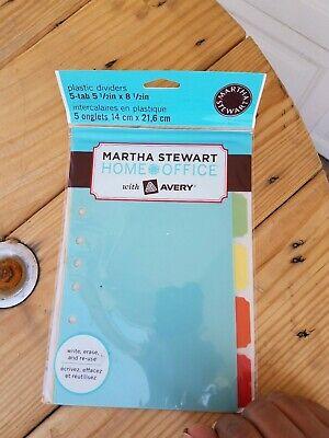 Avery Martha Stewart Plastic Dividers 8-tab 5.5 X 8.5 Lot Of 16 New