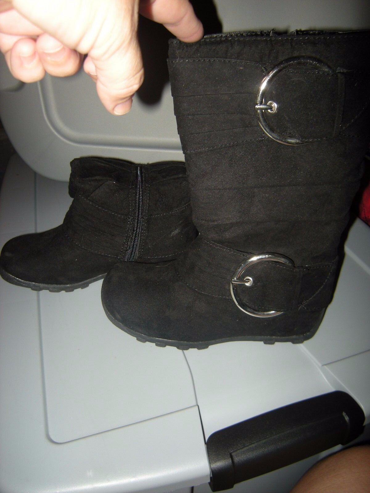 Brand  New Girls Black Baby Girl Dizzy Boots, Size 12.5