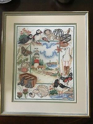 Large Framed Needle Work Of Coastal Scenes