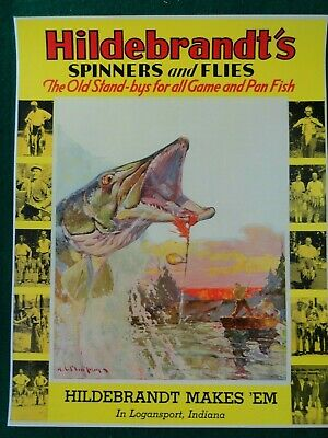 Hildebrandt's Fishing Lures Advertising Poster, Spinners & Flies