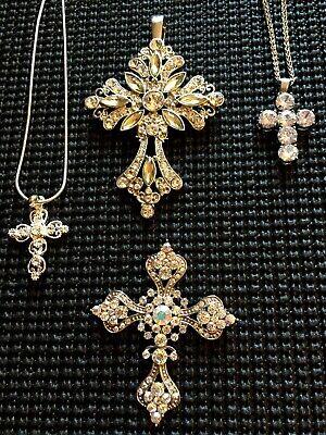 Elegant Large Dramatic Rhinestone Crucifixes Cross Fashion Necklaces Brooch