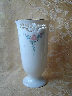 "LENOX PIERCED FLORAL VASE WITH GOLD TRIM 7"" TALL"