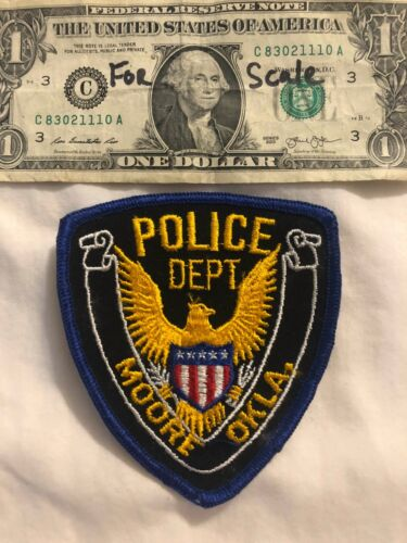 Rare Vintage Moore Oklahoma Police Patch un-sewn State of Oklahoma Patches