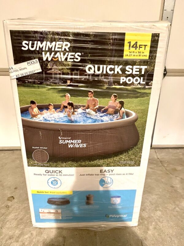 Summer Waves 14ft x 36in Quick Set Swimming Pool w/Filter / Pump NEW In Hand Nib