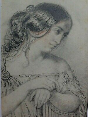 NEOCLASSICAL OLD MASTER DRAWING of a 'Lady' - ca 1835 -French School
