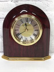 HOWARD MILLER  ROSEWOOD  ARCH TABLE CLOCK/ALARM BATTERY OPERATED WORKS