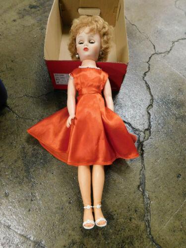 "Vtg 20"" Fashion Doll High Heels Red Dress Nylons Blue Gray Eyes Marked  Rare"