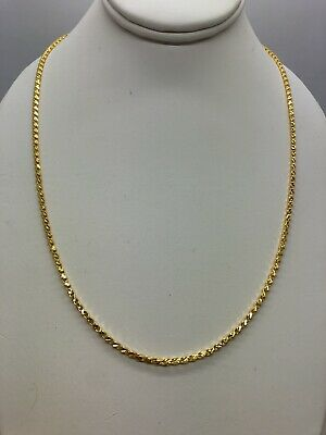 24k Yellow Gold Flexible Diamond Cut Chain Link Necklace 20 Inches 11.45 Grams