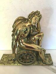Antique French  Gilt Bronze Dore Nude Greek Male Mantel Clock