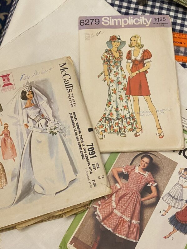3 Vintage Lot Simplicity McCall's Sewing Patterns Womens Summer Dresses & Bridal