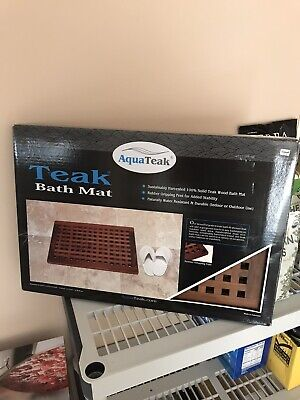 Aqua Teak Oiled Indoor Outdoor Bath Shower Mat  W 15.75
