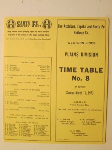 Atchison Topeka Santa Fe Plains Division Time Table No. 8 March 11, 1973