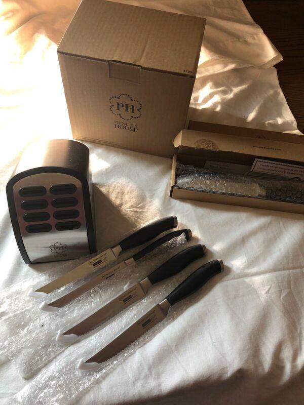 NIB Princess House Stainless Culinario Series Steak Knife set 8 & Knife Block