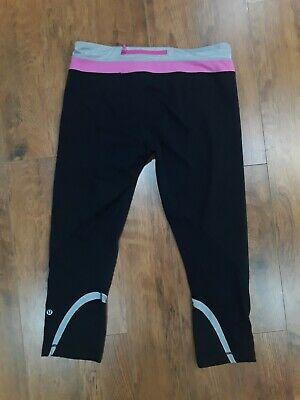 Lululemon Run: Inspire Crop II Black / bright pink Zipper Pocket Sz 10