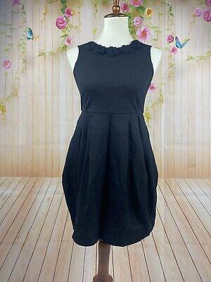 Mimisol Luxury Italy Girls Black Floral Pleated Pocket Dress Sz 14