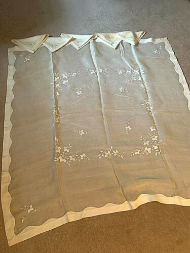 Antique 43 inch Square Marghab or Madeira Table Cloth and 5 Napkins