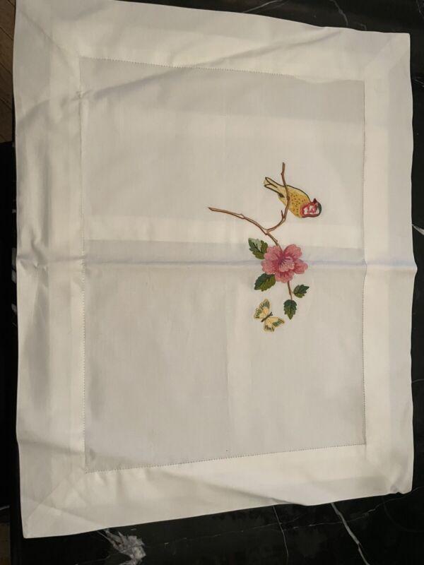 Leron Linens - White Cotton Boudoir Case With Hand Embroidery.