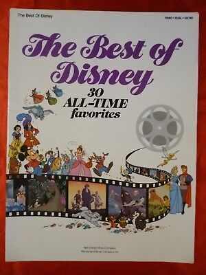 BEST OF DISNEY Songbook 30 ALL-TIME FAVORITES Sheet Music 1985 PVG songs 80 page