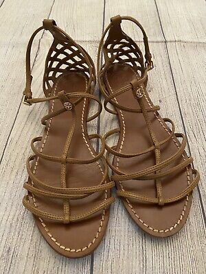 Tory Burch Brooke Tan Gladiator Flat Sandals Shoes Size 9