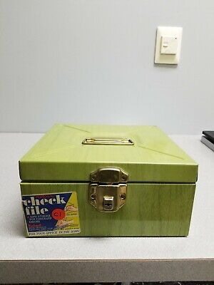 Vintage Ballonoff Green Check File-metal Box