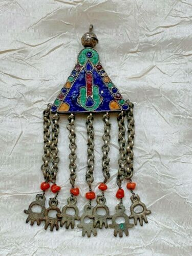 Vintage Ethnic Silver Pendant - Multi-coloured Enamel - Coral beads, red stone